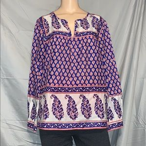 EUC J Crew sheer patterned top